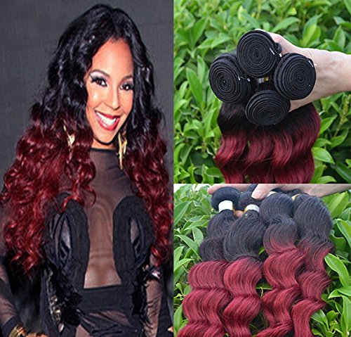 Romantic Angels® Remy Brésilien Ondulé Loose Wave-Cheveux Vierges 3 Bundles Hair Weft(16''18''20'') Couleur#1b/bordeaux