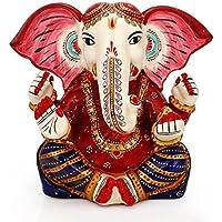 Craftvatika da seduto Ganesh Dio indù statua–Base in pietra–pietra Ganesha statue–Lord Ganesh Idol Diwali regali