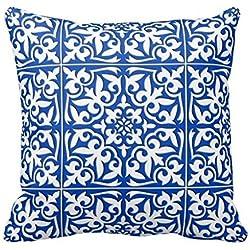 Azulejo de quien hablará Aidoue marroquí de la funda de almohada estampado de flores de la acuarela decorar para un sofá funda de almohada cojín 45,72 cm , #5, 18x18