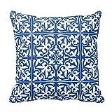 aidoue Marokkanische Vierpass-Fliesen Blumen Watercolor Kissenbezüge Dekorieren für ein Sofa Kissenbezug Kissen 45,7cm, #5, 18x18