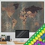murando Designer-Weltkarte XXL - zweiseitig - 140x100 cm - beidseitig bedruckt & laminiert - Weltkarten Poster mit Aufkleber-Set k-A-0361-af-a