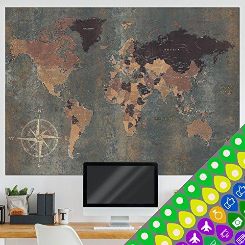 murando Designer-Weltkarte XXL - zweiseitig - 140x100 cm - beidseitig bedruckt & laminiert -...