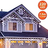 220 LED Tenda luminosa, Luci natalizie per interni e esterni, Bianco Brillante Catene luminose con 8 modalità luce/timer, Memoria, trasformatore incluso, 7,5 m lunghezza-Cavo Bianco