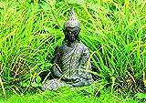 WOMA Buddha Deko Figur Sitzend mit Verzierungen, Dekoration für Haus, Wohnung und Garten, 33cm hoch, Wetterfeste Skulptur aus Polyresin für Innen und Außen, Silber - 2
