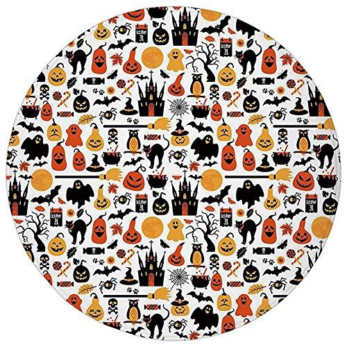 Round Rug Mat Carpet,Halloween,Halloween Icons Collection Candies Owls Castles Ghosts October 31 Theme Decorative,Orange Yellow Black,Flannel Microfiber Non-slip Soft Absorbent,for Kitchen Floor Bathr