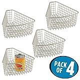 mDesign 4er-Set Lazy Susan Schrankkorb – robuster Drahtkorb für Küchenschränke – Korb aus Metall mit praktischem Griff – kombinierbar für Schrankrondelle – mattsilber