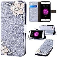 6City8Ni Bling Glitzer Diamant Magnetverschluß Ledertasche für Samsung S8 Plus