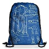 style3 AT-AT Cianotipo Bolsa mochila bolsos unisex gymsac fotocalco azul andador