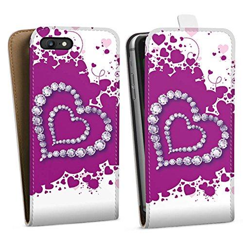 Apple iPhone X Silikon Hülle Case Schutzhülle Herz Liebe Love Downflip Tasche weiß