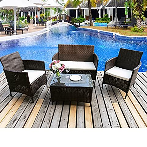BTM Garden Furniture Sets 4 Seaters Patio Furniture Set 5 Pcs Rattan Garden Furniture Set Coffee Table Chairs Sofa Patio Conservatory Wicker