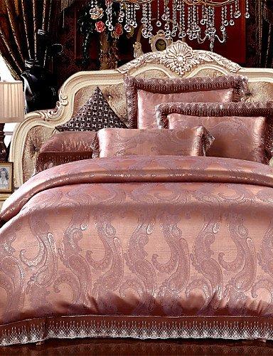 ZHUAN GAOHAIFQ®, vierteilige Anzug,Überraschungspreis Bettwäsche Set Kaffee Gold Bettwäsche Klassische Blätter Seidenstoff Bettwäsche für Schlafzimmer 4pcs Königin König, Queen - Königin Camouflage Blatt