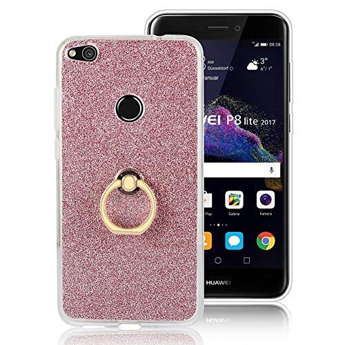 Huawei P8 Lite 2017 Hülle,Hülle Transparent Silikon Glitzer Papier 2 in 1 Schutzhülle Smartphone Halter Ständer Ringhalter Metall Ring Hülle für Huawei P8 Lite 2017