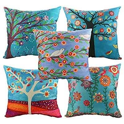 Luxbon-Set of 5 Pcs Chic Style Trees Printed Cushion Cover Durable Cotton Linen Throw Pillow Shell Case Home Decor 18X18 inch 45x45cm Mothers Day Gift Present - inexpensive UK light shop.