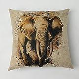 Kate Elefant Tiere-Serie Kissen Kissenbezüge 45×45cm Quadrat Baumwoll&Leinen Mischung Kissenbezug für Haus Schlafzimmer Sofa Sessel Dekor
