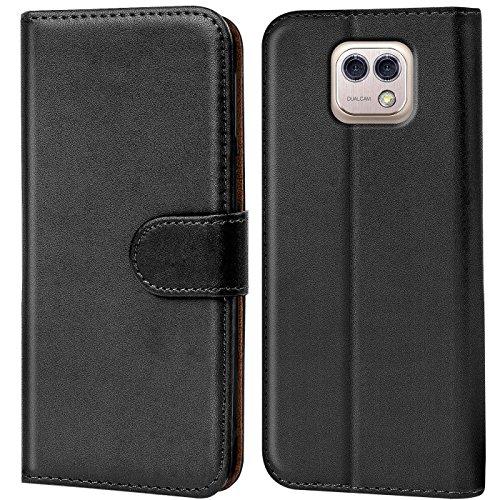 Verco X CAM Hülle, Handyhülle für LG X CAM Tasche PU Leder Flip Case Brieftasche - Schwarz