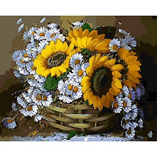 shukqueen DIY Ölgemälde, Erwachsene 's Malen nach Zahlen Kits, Acryl Gemälde Sonnenblume und Daisy 40,6x 50,8cm, Frameless,Just Canvas Daisy Und Sonnenblume