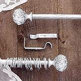 AT17 Gardinenstange Vorhangstange Gardinenstange Variable Länge Landhaus Shabby Chic - Rosen Prägemuster - 120-210 - Durchmesser 2 cm - Weiß/Silber - Metall