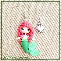 Orecchini Chibi Ariel ~ Cute Disney Earrings Fimo Polymer Clay Kawaii tiny Princess Principessa Sirenetta Mermaid Regalo Handmade Hair Red