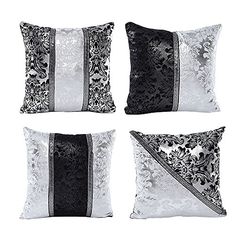 Set di 4 vintage nero argento patchwork floreale cuscino home decorative pillow covers
