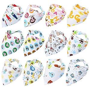 Fontee Baby Confezione da 12 Bandana Sbavare Bavaglini Unisex Cotone Assorbente Bavaglino per Ragazzi & Ragazze morbide e confortevoli, lavabili in lavatrice, bavaglini altamente assorbenti per il neonato