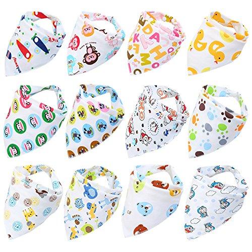 Fontee Baby 12 Stück Bandana Dreieckstuch Lätzchen Spucktuch für Jungen Weiche, Bequeme, Maschinenwaschbare, Hoch Absorbierende Bandana-Lätzchen für Zahnen-Babys, Bandana-Lätzchen (Jungen) - Baby Bandana-lätzchen Für