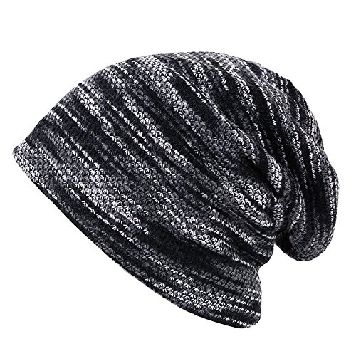 Swallowuk Herren Mode Warme Feinstrick Beanie Mütze mit Flecht Muster und Fleece Innenfutter Hut (Grau)