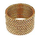 NEU. Touchstone indischen Bollywood Atemberaubende klaren Strass verziert dünn Charming Look Designer Schmuck Armreif Armbänder Set von 12Für Damen in Antik Gold Ton.