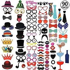 Idea Regalo - RYMALL 90pcs Nuovo Stile photo booth props Accessori fai da te colorati occhiali baffi labbra farfallino cappelli su bastoni per matrimonio partito Natale compleanno
