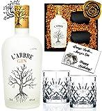 DAS Gin-Geschenk Set L'Arbre limited Edition inkl. 2 geschliffener Gin Tumblern Luxus mit Olivenplättern & Rosmarin in edler Geschenkbox schwarz Sammler-Edition