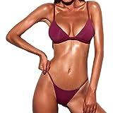 heekpek Bikinis Mujer Push Up Traje de Baño Brasileños Bikini Dos Piezas Ropa de Baño Sexy Bañador de Baño Push Up Halter Col