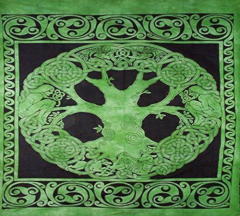 XL Grün SCHWARZ Keltischer Knoten Sofa King Doppelbett Bezug Tagesdecke Baumwolle Überwurf