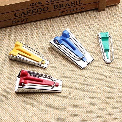 Towinle 4 Stücke Schrägbandformer, Schrägband Werkzeug Set Tape Maker in 6mm, 12mm, 18mm, 25mm, 4 Farben Kurzwaren Edelstahl Nähen Zubehöre