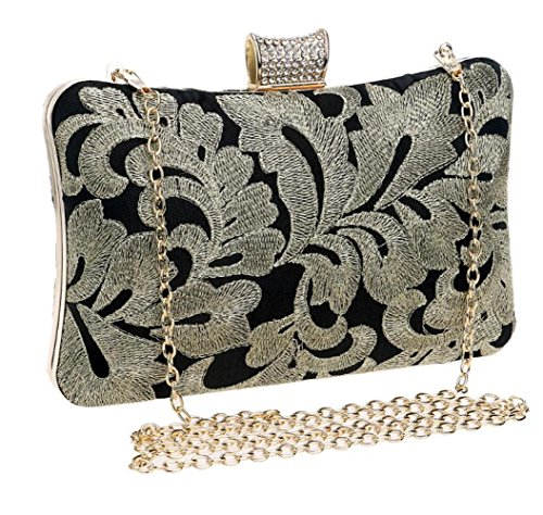 Frauen Clutch Bag Handtasche Abend Handtasche Handarbeit Stickerei Umschlag Schultertasche Für Braut Hochzeit Prom Clubs Damen Geschenk,Gold-20*12*6cm