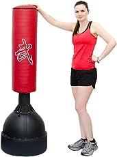 Eyepower Standboxsack 160cm hoch Gefüllter Freistehender Boxsack für Erwachsene Boxpartner Tube Trainer Punching Bag Box Dummy Schwarz Rot