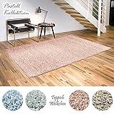 Shaggy-Teppich Pastell Kollektion | Flauschige Hochflor Teppiche für Wohnzimmer Küche Flur Schlafzimmer oder Kinderzimmer | Einfarbig, schadstoffgeprüft (Rose - 40 x 60 cm)