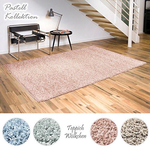 Shaggy-Teppich Pastell Kollektion | Flauschige Hochflor Teppiche für Wohnzimmer Küche Flur Schlafzimmer oder Kinderzimmer | Einfarbig, schadstoffgeprüft (Rose - 240 x 340 cm)