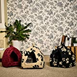 CONNECTWIDE® Pet Hut Fleece Small Dog Puppy Polar Rabbit Cat Pyramid Hut Kennel Travel New Dog Cat Warm Fleece Winter Bed House Soft Luxury Basket For Pets Puppy Shop-monk (1 pc) Color: Assorted