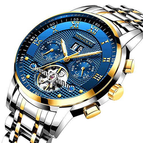 Herren Uhren Mechanische Automatik Männer wasserdichte Kalender Edelstahl Armbanduhren mit Mode Elegante Business Kleid Gold Schwarz (Bänder Herren-kleid-uhr)