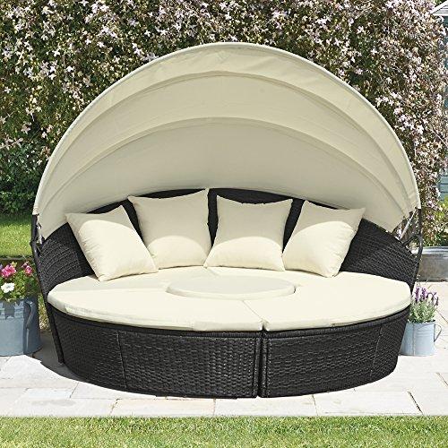rattan effect garden day bed folding canopy garden. Black Bedroom Furniture Sets. Home Design Ideas