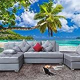 BZDHWWH 3D Ocean Wandbild Tapete Wohnzimmer Sofa Tv Hintergrund Tapete Home Decor Strand Landschaft Hintergrundbild 160 Cm (H) X 240 Cm (W)
