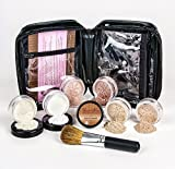 XXL KIT with BRUSH & CASE Full Size Mineral Makeup Set Bare Skin Powder Foundation Cover (Fair Shade 2) by Sweet Face Minerals