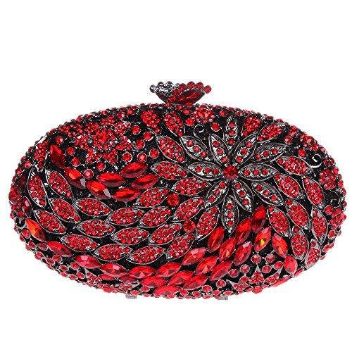Damen Clutch Abendtasche Handtasche Geldbörse Groß Glitzertasche Strass Blume Oval Tasche mit wechselbare Trageketten von Santimon(9 Kolorit) Rot