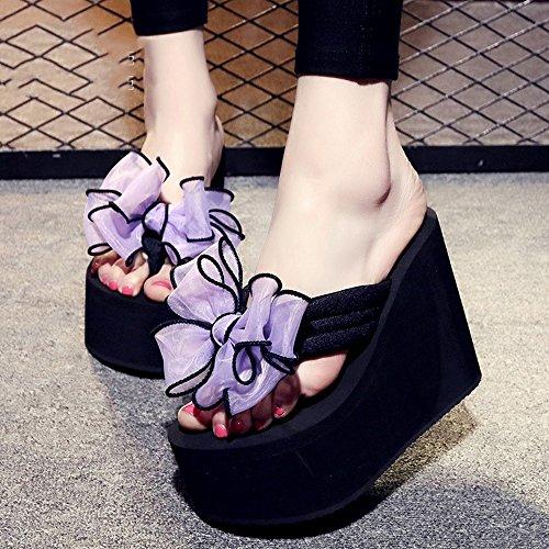 12cm Femelle antidérapante Chaussures de plage de sable épais Doux bow chaussures décontractées sandales 9 sortes de couleurs ( Couleur : #5 , taille : EU36/UK4/CN36 ) #7