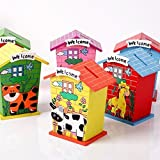 Gold Leaf® Piggy Bank For Kids Return Gift Birthday Party,family Functions Wood House Animal Design - Pack Of 3 (Assorted Designs As Per Availability)