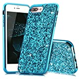Slynmax Coque iPhone 8 Plus Bleu Coque iPhone 7 Plus Silicone Paillette Strass Brillante Bling Bling Glitter de Luxe Bumper Housse Etui de Protection [Fin] [Anti Choc] pour Apple iPhone 7 Plus/8 Plus