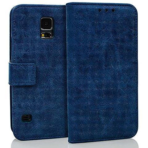 Galaxy S5 Hülle, BONROY® Echt Ledertasche für Samsung Galaxy S5 G900 / S5 Neo SM-G903F Retro elegant Normallack Leder Echtleder Klapphülle Cover Tasche Schutzhülle Handyhülle im Bookstyle mit Magnet Kartenfächer Standfunktion - Blau