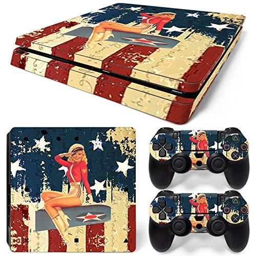 Set di adesivi decorativi per PlayStation 4 Slim (Console + 2 Joypad) - Bombardiere US