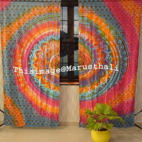 Marusthali Indische gebatikt Multi Farbe Ombre Mandala-Hippie Bohemian handgefertigt Mandala-Vorhänge, 2-Stück Set, die Königin, Mandala-Wandteppich, Schürze und Vorhänge, Vintage-Therapie - - Mandala Hippie