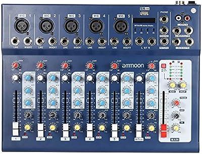 ammoon 7 Canales Línea Mic Digital Audio Sonido Consola de Mezcla del Mezclador con Entrada USB 48V Poder Fantasma 3 Bandas de Ecualización para la Grabación de DJ Etapa Karaoke Apreciación Musical