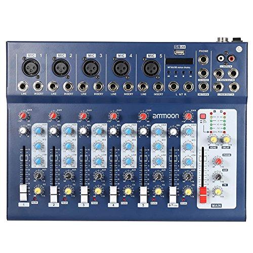 Ammoon Mischpult Mixer Console F7-USB 7 Kanäle Mikrofon Digitale Audio Mixer, mit USB-Eingang 48V Phantomspeisung 3 Ausgleichbänder für das Speichern DJ Bühne Karaoke Musikliebhaber (Dj-audio-recorder)